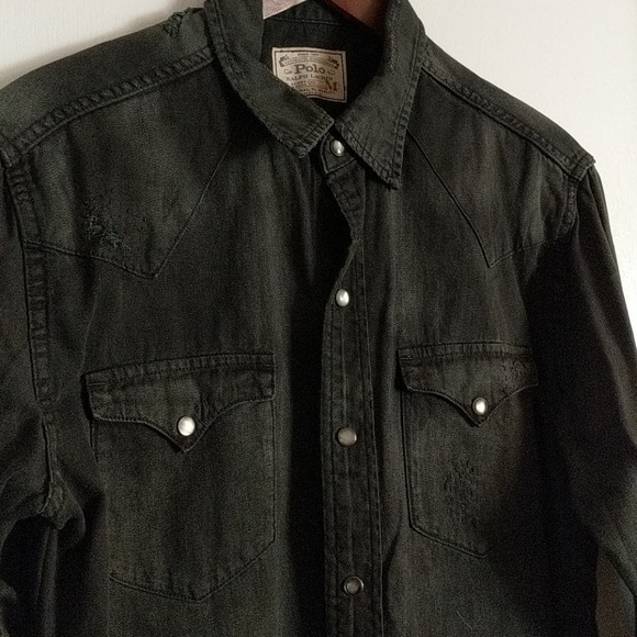 08898640f18 Polo Ralph Lauren distressed denim western shirt. M 5a68fa4cd39ca24350061eb0